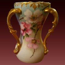 Limoges Hand Painted Wild Rose Loving Cup Vase ,Artist Signed