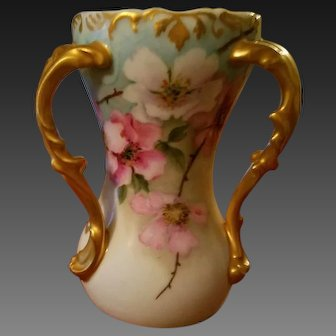 Limoges Hand Painted Wild Rose Loving Cup Vase ,Artist Signed