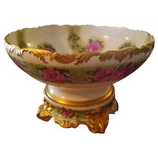Large Limoges Hand Painted Rose Punch Bowl Set