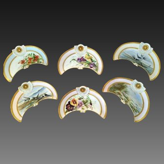 Limoges Hand Painted Oyster Dish Set,Artist Sigend and Dated