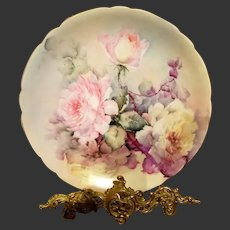 Limoges Hand Painted Rose Charger Plaque Plate, Masterpiece