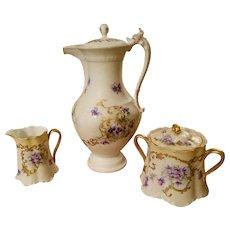 Limoges Hand Painted Violet Chocolate Pot Creamer Sugar Bowl Set