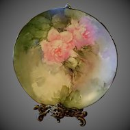 Limoges Hand Painted Rose Cabinet Plate Plaque, Artist Signed