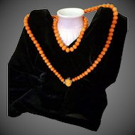 """29"""" Antique Victorian Coral Necklace 77.1 grams Cameo Coral Clasp 14kt Gold"""