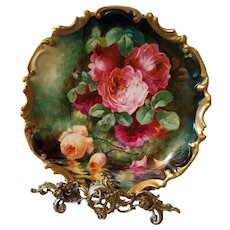 "Large Limoges Hand Painted  Rose Charger Plaque, Listed Artist Signed,""Duval"""