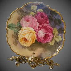 Large Limoges hand Painted Rose Plate Charger Plaque , French Artist Signed