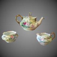 Rosenthal  Bavaria Hand Painted  Rose Jeweled Tea Pot /Creamer/Sugar Bowl Set