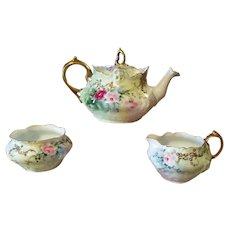 Rosenthal  Bavaria Hand Painted  Rose Jeweled Tea Pot /Creamer/Sugar Bowl Set