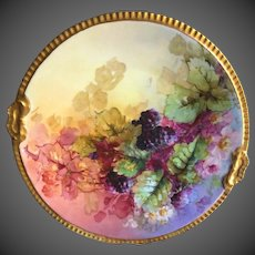 Large Limoges Hand Painted Blackberry Charger Plate Plaque, Artist Signed,Masterpiece