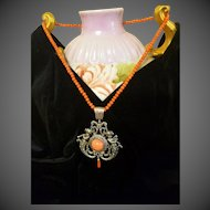 Antique Victorian Sterling Silver Genuine Coral Pendant Necklace