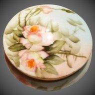 Limoges Hand Painted Rose Dresser Powder Jar Box, Artist signed,Painted by Ester Miler