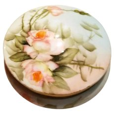 Limoges Hand Painted Rose Dresser Powder Jar Box, Artist signed,Painted by Ester Miler