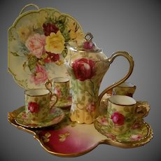 Royal Austria Hand Painted Rose Chocolate Coffee Pot /4 Cup/4 Saucer/ Set,Artist Signed