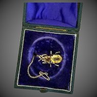 Antique Victorian 9K Yellow Gold and Citrine Bug  Spider with Pearl Eyes Pin / Brooch