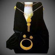 Vintage 14 kt Gold Italian Hollow Ball Tassel Necklace Pendant Bracelet Earring Set