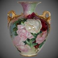Large American Belleek Hand Painted Rose Vase, Cherub Face