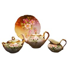 Limoges Hand Painted Tea Pot/ Charger/ Sugar Bowl/Creamer Set,Artist Signed