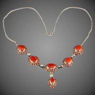 Antique Vintage  Sterling Silver Red Coral Necklace