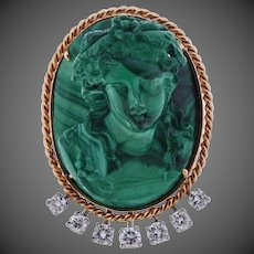 Antique Vintage 14K Gold Diamond Malachite Cameo Brooch Pin