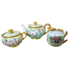 Limoges Hand Painted Rose Tea Pot /Creamer /Sugar bowl Set, Artist signed
