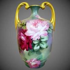 Large Limoges Hand Painted Muscle Vase, Artist Signed, Masterpiece !