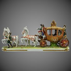 Magnificent Dresden Lace Napoleon Carriage Figure Group Figurine
