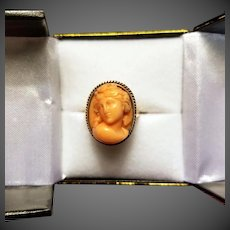 Antique Victorian  14 K Gold Carved Pink Coral Cameo Ring , 6 Grams