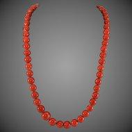 "14 k Precious Deep Red Coral Bead Necklace w /Diamond Clasp, 36"", 119 G"