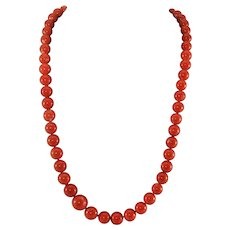"14 k Precious Deep Red Coral Bead Necklace w /Diamond Clasp, 36"", 119 G"