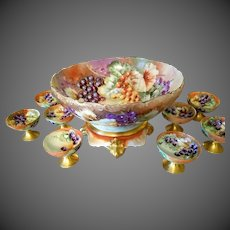 Limoges Hand Painted Punch Bowl / Stand/8 Cup Set, Artist Signed