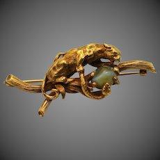 Antique Vintage 14k Gold Leopard Tiger Puma Snake Brooch with Chrysoberyl