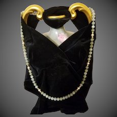 """Vintage  14 k Gold Jade Jadeite  Cultured Pearl Bead Necklace, 31"""" long, 60gr"""