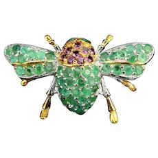 925 Sterling Silver 14k Gold Plated Bee Brooch, Rhodolite Garnet Emerald