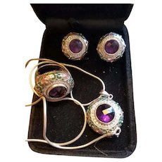 Vintage 925 Sterling Silver Czech Amethyst Rhinestone Enamel Ring/Earrings/Pendant Set