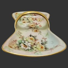 "Limoges Hand Painted Basket Dish Tray ,Artist Signed ""E.Miler"""