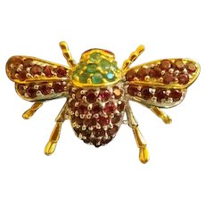Sterling Silver Garnet Emerald Bee Brooch