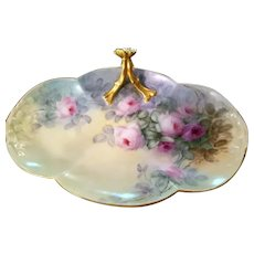 """18"""" Magnificent Limoges Hand Painted Rose Tray Platter ,  Masterpiece, Artist Signed"""