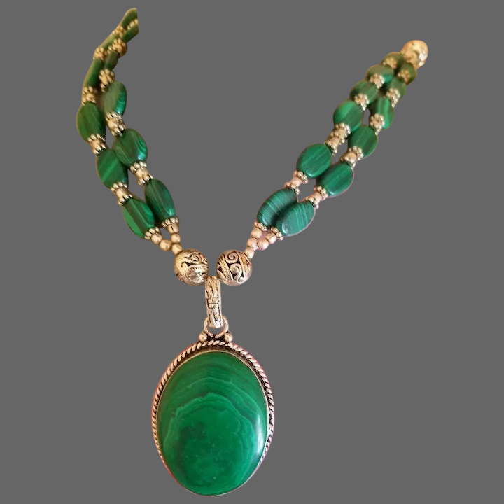 Malachite Jewelry Set Pendant And Ring Sterling Silver #1169