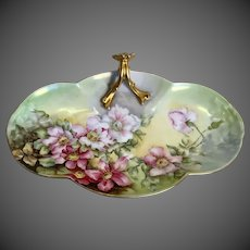 Limoges Hand Painted Wild Rose Tray,Artist Signed