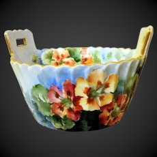 Limoges  Hand Painted Flower Bowl with Strainer Drainer
