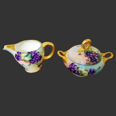 Vintage Bavaria Hand Painted Violet Sugar Bowl Creamer Set