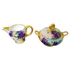 Vintage Bavaria Hand Painted Violet Sugar Bowl Creamer Set