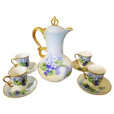 Limoges Hand Painted Chocolate Pot 4 Cup/4 Saucer Set,Masterpiece