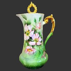 Stunning Limoges Hand Painted Rose Chocolate Pot