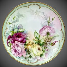 """15"""" Antique Hand Painted  Rosenthal Germany  Limoges Rose Charger Plaque"""