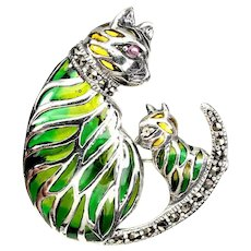 925 Sterling Silver Marcasite Ruby Cat Brooch Pendant