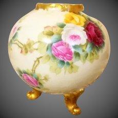 Limoges Hand Painted Rose Bud Vase, Artist Signed