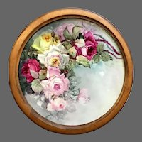 "18"" Magnificent Limoges Hand Painted Rose Charger Wall Plaque, Artist Signed, Original Frame, Masterpiece"