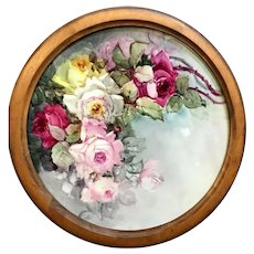 """18"""" Magnificent Limoges Hand Painted Rose Charger Wall Plaque, Artist Signed, Original Frame, Masterpiece"""