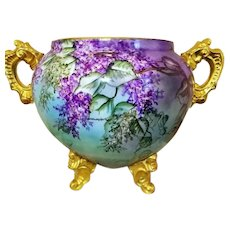 Magnificent Limoges France Hand Painted Lilac Jardiniere